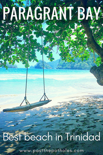 Driftwood swing looking at Caribbean Sea on Paragrant Bay, Trinidad