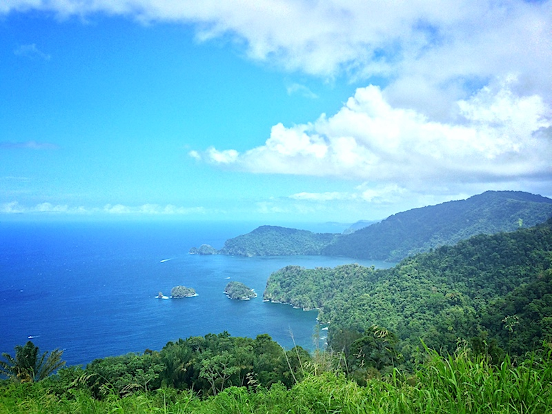 View of Caribbean Sea from mountains in Trinidad.