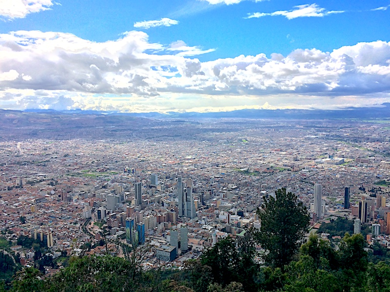 View of Bogota from Montserrate, Colombia.