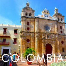 cathedral in walled city of Cartagena, Colombia with text overlay 'Colombia'.