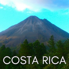 Arenal volcano in Costa Rica with text overlay 'Costa Rica'.