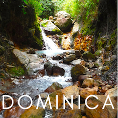 waterfall from sulphur spring in Dominica with text overlay 'Dominica'.