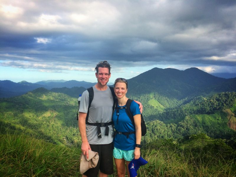 Couple with lush mountain background in Colombia