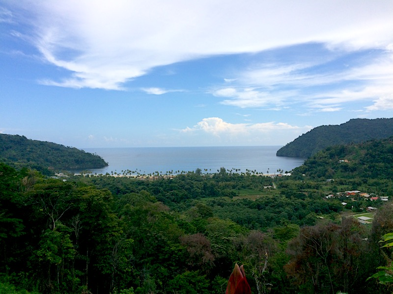Panoramic view of Maracas Bay from above, Trinidad