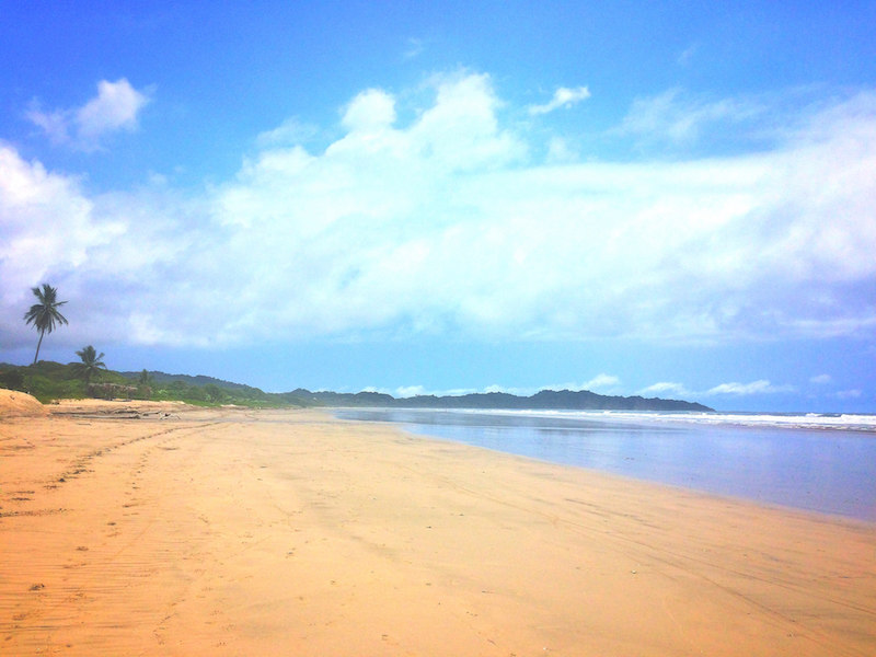 A huge sandy bay completely empty in Nosara, Costa Rica.
