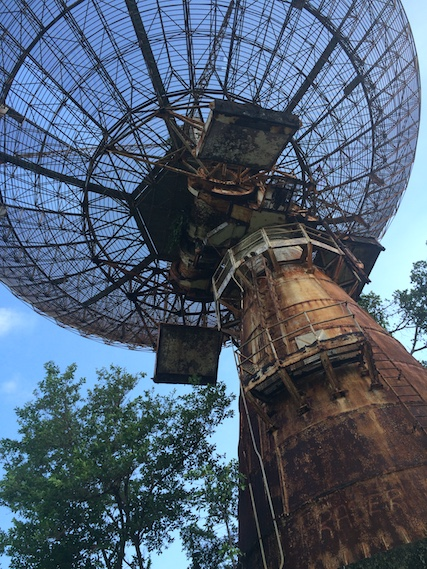 Enormous rusty radio tower from Cold War at Bamboo Cathedral, Trinidad.