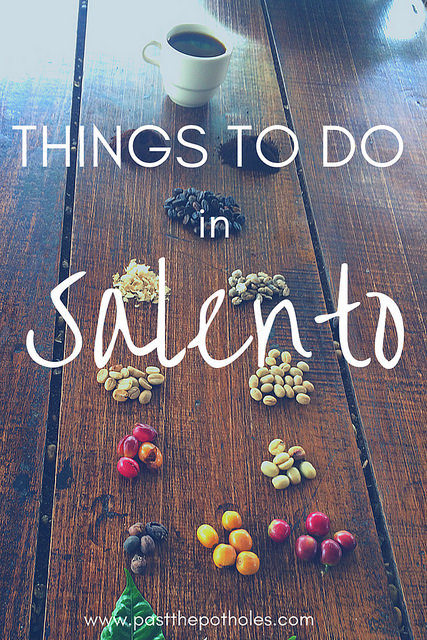 Coffee beans at each stage of process on a table with text: things to do in Salento.