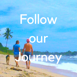 "couple with dog walking on tropical beach with text ""follow our journey"""