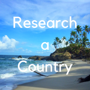 "tropical beach in Trinidad with text ""research a country"""