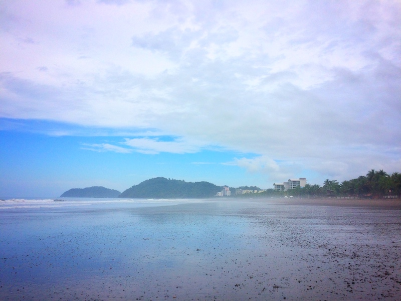 Misty Jaco beach at low tide, Costa Rica.