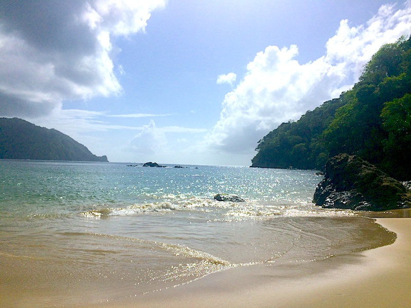 Golden sand, rocky cliffs and turquoise water at Pirates Bay, Charlotteville in Tobago.