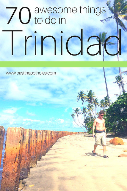 "man walking on beach in Trinidad with text ""70 Awesome Things to do in Trinidad"""