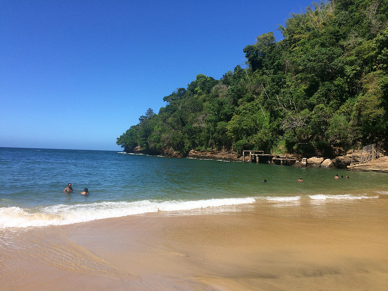 Golden sand and emerald waters of Macqueripe Bay with people snorkelling.