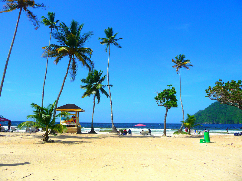 Palm trees and yellow lifeguard hut on Maracas Bay Beach, Trinidad