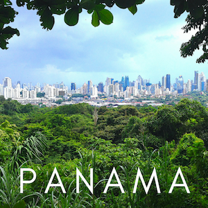view of Panama City skyline with text overlay 'Panama'.