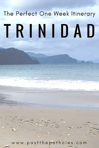 Stormy Caribbean beach with text: The Perfect One Week Itinerary for Trinidad