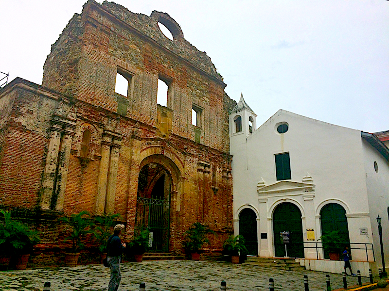 Church ruins in a small plaza in Casco Viejo, Panama City