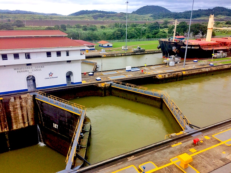 Lock gates with different water levels at Miraflores Locks, Panama Canal, Panama