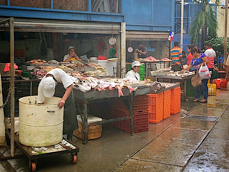 Man leaning into a bin and a woman cleaning tables of fish at Panama City fish market, Panama.