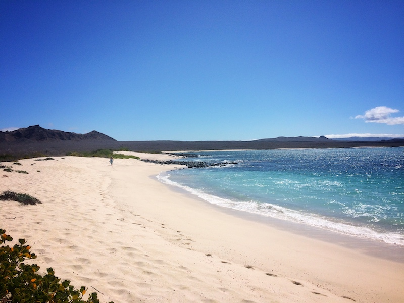 Deserted beach of white sand and clear blue water called Bahia Sardina on San Cristobal Island, Galapagos Ecuador.