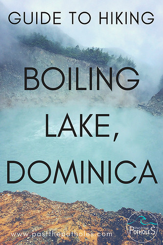 Blue lake that is bubbling and steaming in Dominica.