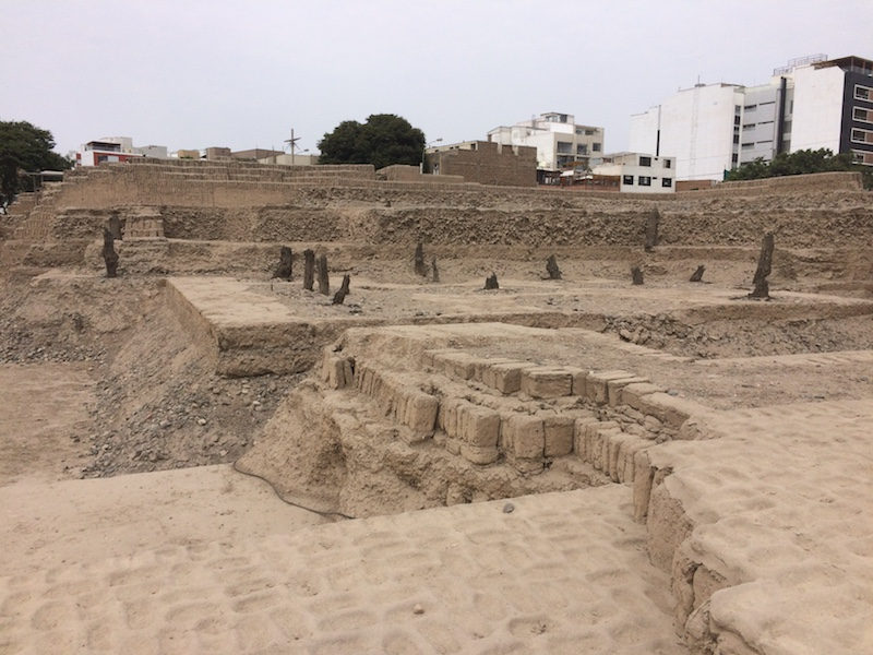 Terraces and bricks of old sand ruins in Lima Peru.