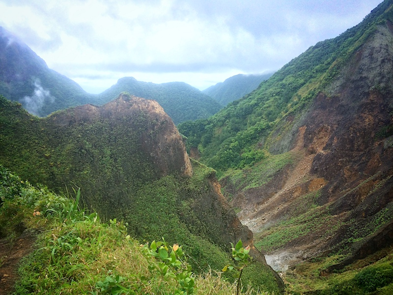 Rugged mountainous landscape on Boiling Lake hike, Dominica