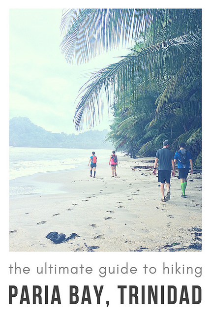 People hiking on beautiful Caribbean beach with text: The ultimate guide to hiking Paria Bay, Trinidad