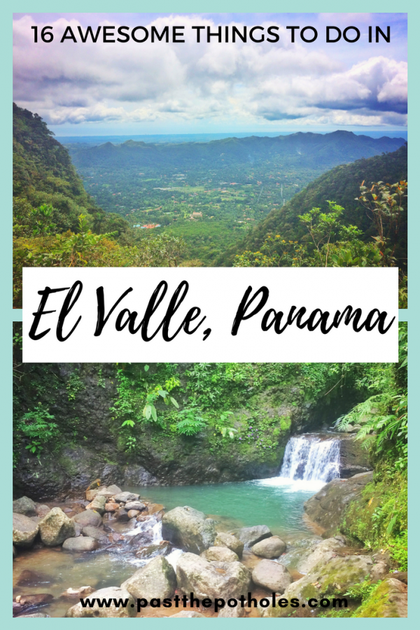 Volcano caldera and turquoise waterfall. Text: El Valle, Panama.
