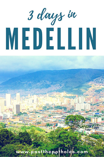 "Medellin skyline surrounded by mountains with text ""3 Days in Medellin""."