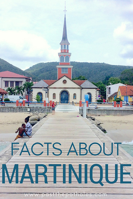 Cute church in Anse d'Arlet from the pier with words: Facts about Martinique.