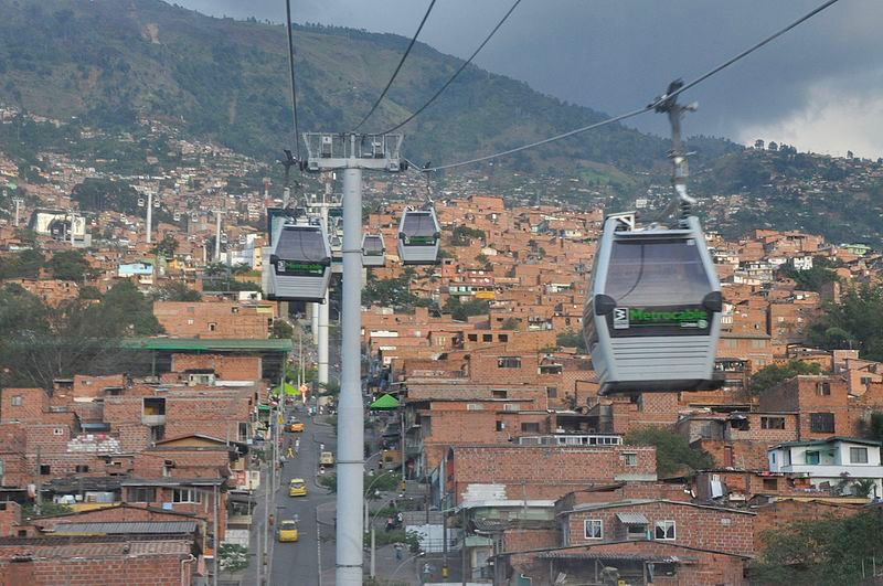 Cable cars above the roofs of Medellin, Colombia.