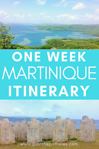 Views over the Caribbean in Martinique with text: One Week Martinique Itinerary