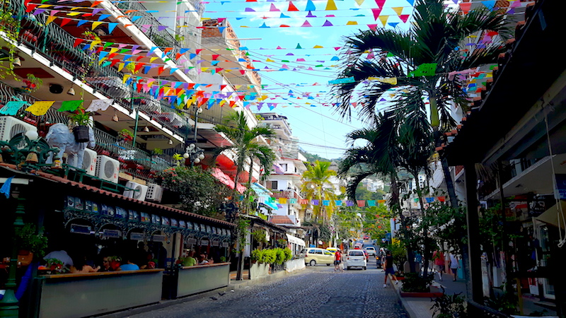 Puerto Vallarta street with banners strung all across it.