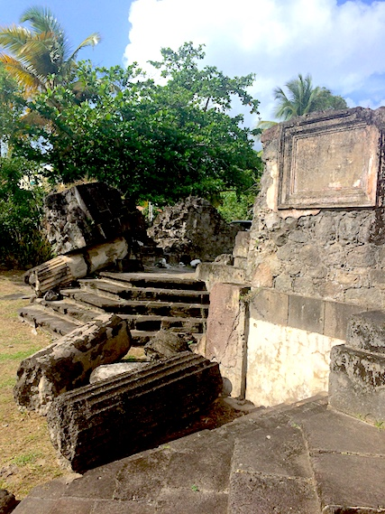 Fallen columns and steps at ruins from volcanic eruption in Saint Pierre, Martinique.