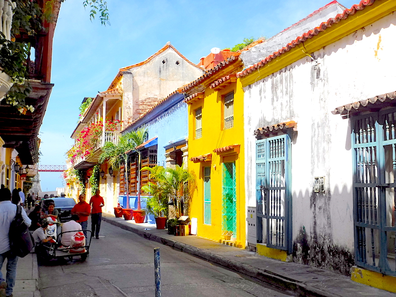 Colourful colonial houses in Cartagena Walled City, Colombia