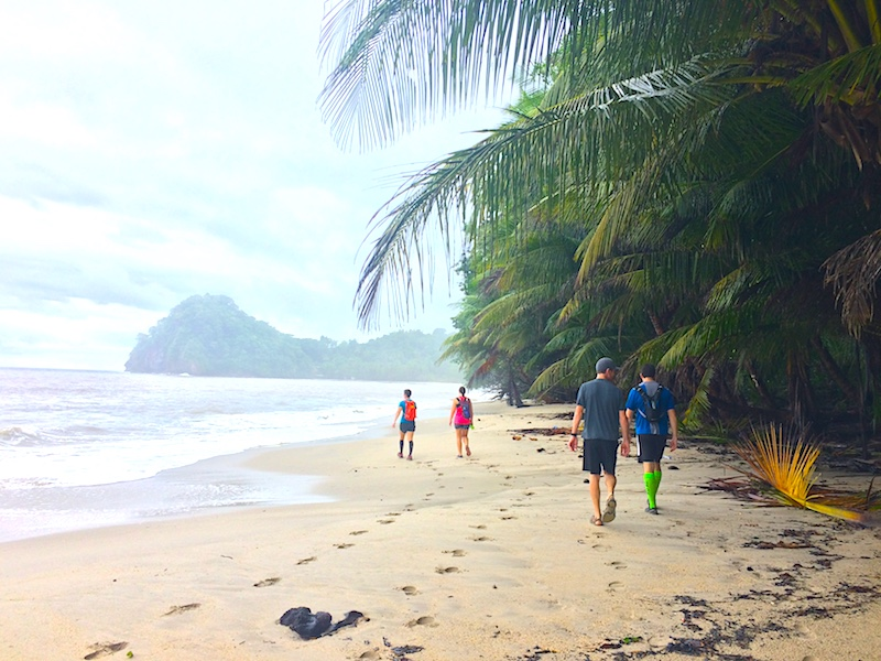Four people hiking along an empty palm backed Caribbean beach in Trinidad