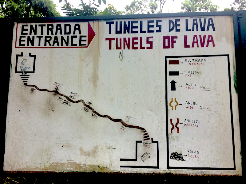 Map of lava tunnel at Rancho las Primicias, Galapagos.