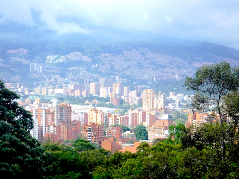 View of skyline of Medellin, Colombia from lookout.