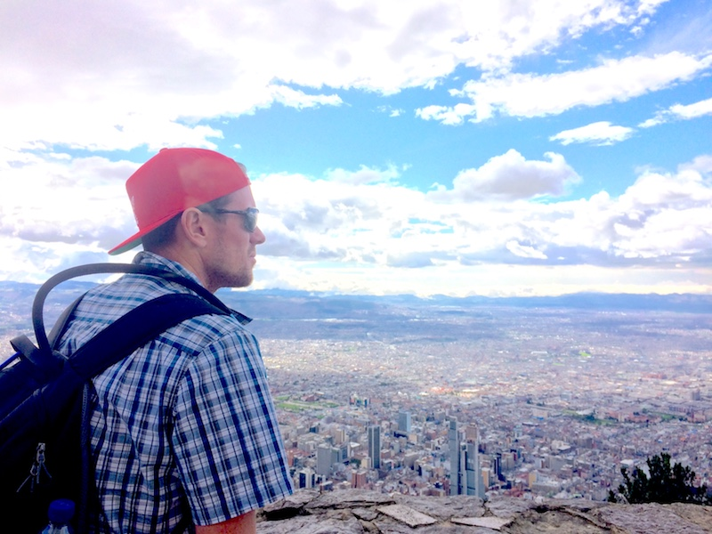 Terry looking over Bogota skyline from top of Montserrate hill, Colombia.