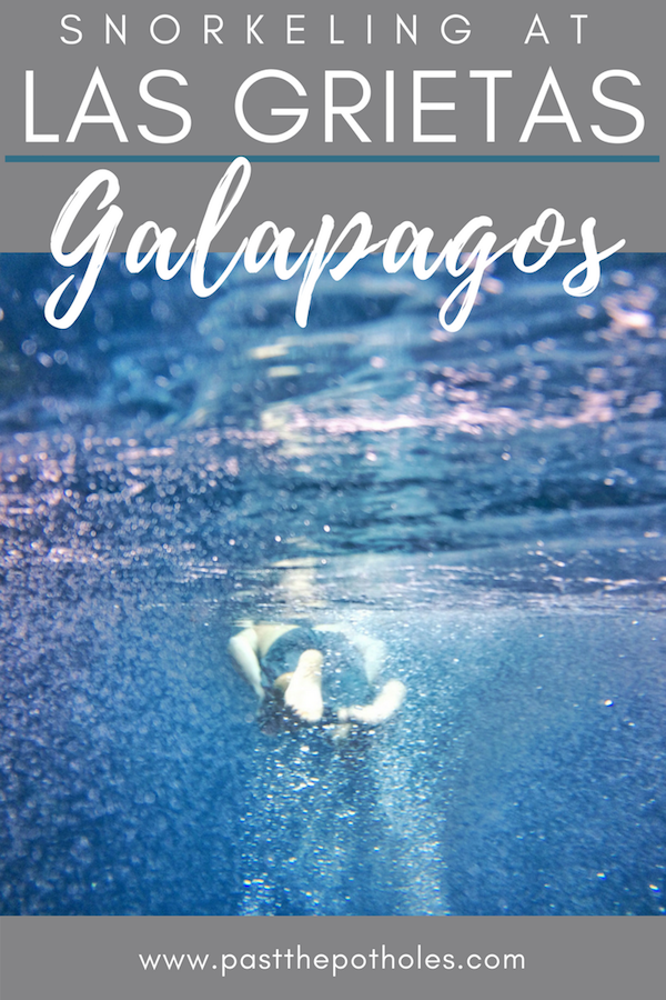 Man snorkelling with text: Snorkelling at Las Grietas, Galapagos.