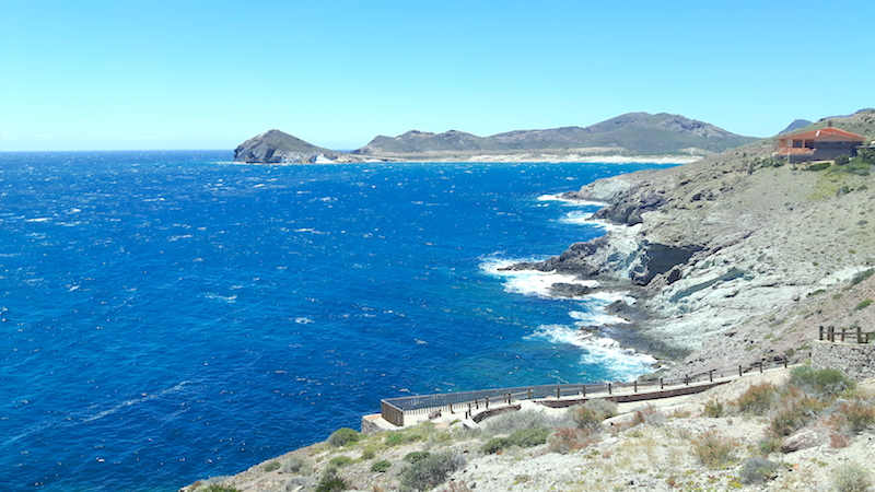 Rugged coastal view in Cabo de Gata national park, Almeria Spain.
