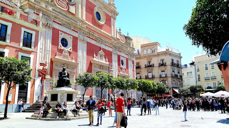 Beautifully ornate buildings in Plaza del Salvador, Seville Spain.