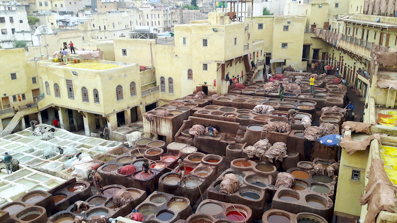Looking down on Fes tannery with giant tubs filled with different dyes and leather hides everywhere. Morocco.
