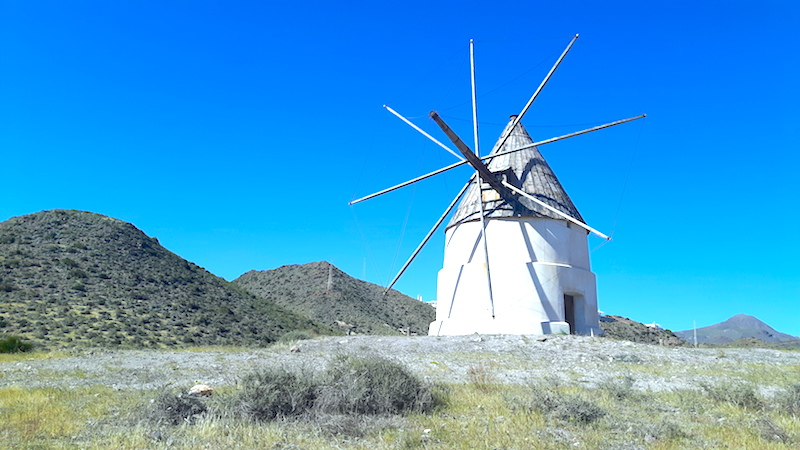 Old fashioned windmill in Cabo de Gata national park, Spain.