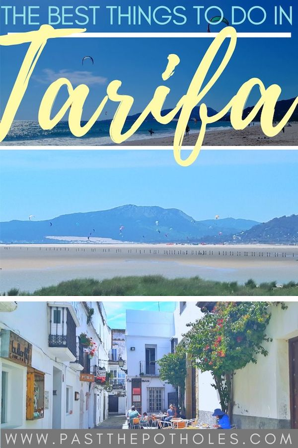 Kitesurfing beach and old town with text: The Best Things to do in Tarifa, Spain.