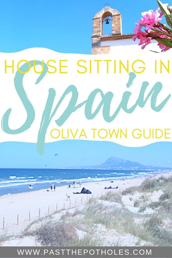 Beach and old church tower with text: House sitting in Spain, Oliva Town Guide.