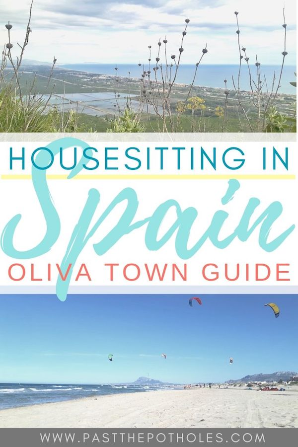 View from mountain hike and beach with text: Housesitting in Spain: Oliva Town Guide