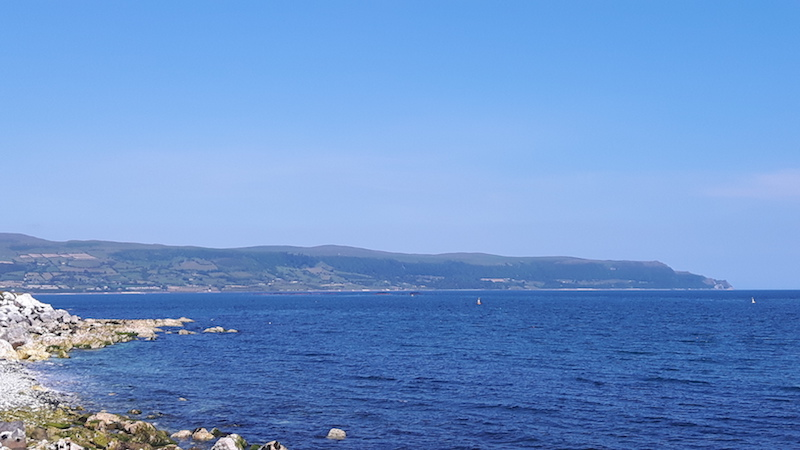 View of the sea from the Causeway Coastal route in Northern Ireland.