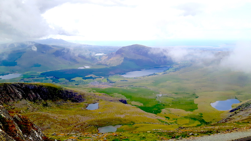 Landscape views from top of Mount Snowdon, Wales